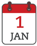 Calendar showing the date of 1 January