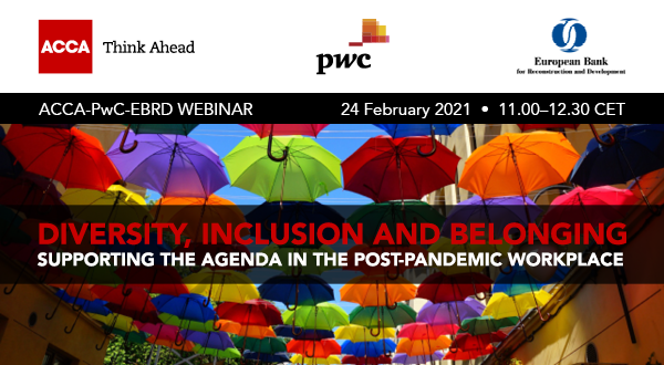 invitation banner for acca, pwc and ebrd event on  Diversity, inclusion and belonging – supporting the agenda in the post-pandemic workplace