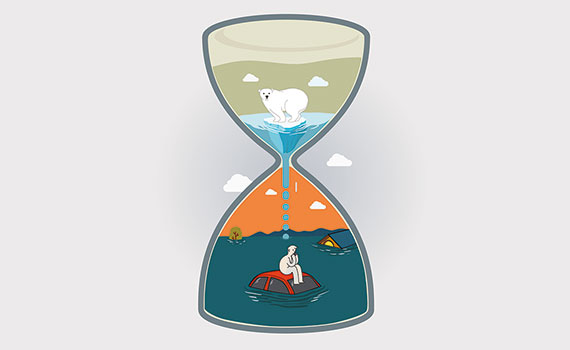 Climate Change in hourglass