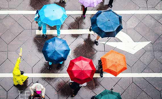 Photo on the cover of the report of a crowd of people with brightly coloured umbrellas crossing the streets in the rain.