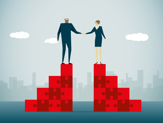 Two figures on top of puzzle pieces shaking hands