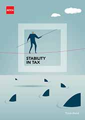 Image on the cover of the report of an illustrated man on a tightwire trying to escape sharks.