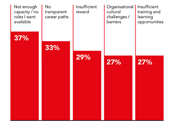Graph showing barriers to career progression. Lack of capacity/available roles is the top barrier.