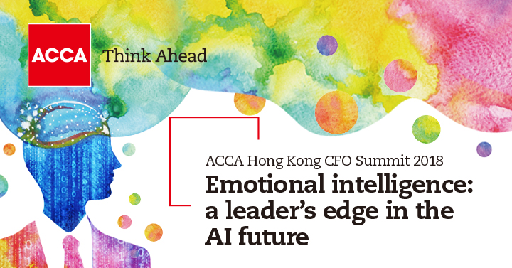 Event poster for the ACCA Hong Kong CFO summit 2018, which is called 'Emotional intelligence: a leader's edge in the AI future'
