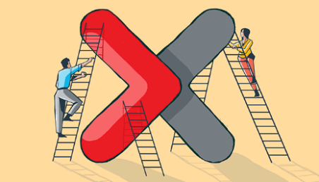 ACCA-X cartoon showing people climbing up the letter ex on ladders